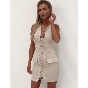 Dresses - Tan lace up pocket dress